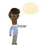 hombre de la historieta en vidrios que señala con la burbuja del pensamiento Fotos de archivo libres de regalías
