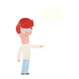 hombre de la historieta en vidrios que señala con la burbuja del pensamiento Fotos de archivo