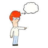 hombre de la historieta en vidrios que señala con la burbuja del pensamiento Fotografía de archivo libre de regalías