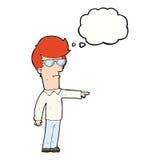 hombre de la historieta en vidrios que señala con la burbuja del pensamiento Imagen de archivo
