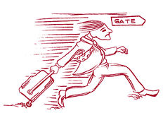 Hombre de la historieta que corre a la puerta del vuelo Fotos de archivo