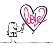 Hombre de la historieta que dibuja un corazón incompleto ilustración del vector