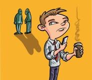 Hombre de la historieta que manda un SMS en smartphone Imagen de archivo libre de regalías