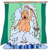 Hombre de la historieta que toma una ducha Imágenes de archivo libres de regalías