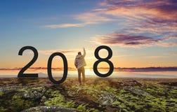 Hombre de la libertad que se coloca en la roca, aumentando la mano para arriba bajo puesta del sol 2018 Años Nuevos que celebran Fotografía de archivo libre de regalías