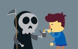 Hombre de la matanza con fumar stock de ilustración