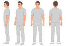 Hombre de la moda de la ropa de deportes aislado, frente, parte posterior y vista lateral, ejemplo del vector Fotografía de archivo libre de regalías