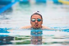 Hombre de la natación en piscina imágenes de archivo libres de regalías