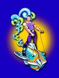 Hombre de la nave espacial w/muscle de la vendimia Stock de ilustración