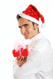 Hombre de la Navidad con el presente. Imágenes de archivo libres de regalías