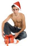 Hombre de la Navidad con el presente. Fotografía de archivo libre de regalías