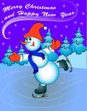 Hombre de la nieve en patines con enhorabuena Imagen de archivo libre de regalías