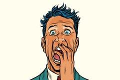 Hombre de la pesadilla del miedo del terror aislado en el fondo blanco stock de ilustración