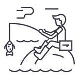 Hombre de la pesca con la línea icono, muestra, ejemplo del vector de la barra en el fondo, movimientos editable Fotografía de archivo