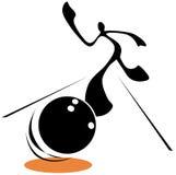 Hombre de la sombra que juega al bowling Imagen de archivo libre de regalías