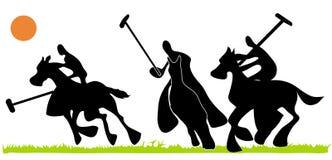 Hombre de la sombra que juega deporte del polo Imágenes de archivo libres de regalías