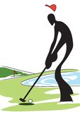 Hombre de la sombra que juega a golf Imagen de archivo