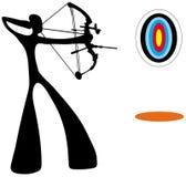 Hombre de la sombra que juega a tiro al arco Imágenes de archivo libres de regalías