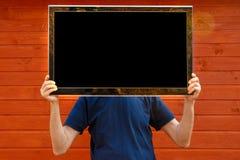 Hombre de la TV TV en vez de la cabeza imagenes de archivo