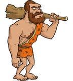 Hombre de las cavernas con el club stock de ilustración