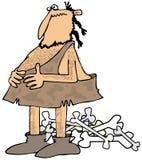 Hombre de las cavernas con un estómago lleno Imagen de archivo
