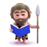 hombre de las cavernas 3d que lee un libro Imagen de archivo libre de regalías