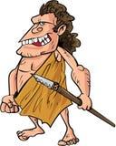 Hombre de las cavernas de la historieta con una lanza Foto de archivo