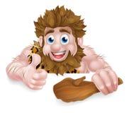 Hombre de las cavernas de la historieta sobre muestra Imagen de archivo libre de regalías