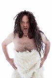 Hombre de las cavernas de pelo largo tosco de gruñido fotografía de archivo libre de regalías