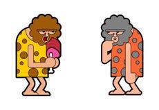 Hombre de las cavernas dos pensar y embotar El hombre prehistórico espera El hombre antiguo piensa stock de ilustración