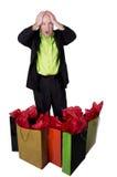 Hombre con los bolsos de compras Imagen de archivo libre de regalías