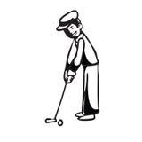 Hombre de las vacaciones que pone el golf BW Imagenes de archivo