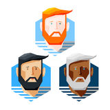 Hombre de los conceptos del ejemplo del diseño con la barba ilustración del vector