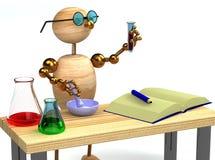 hombre de madera 3d como tubo de la explotación agrícola del químico Imagen de archivo libre de regalías
