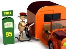 hombre de madera 3d con un surtidor de gasolina Imagen de archivo