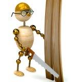 hombre de madera 3d con una sierra Imágenes de archivo libres de regalías