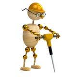 hombre de madera 3d que trabaja con el martillo perforador Fotos de archivo