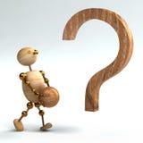 Hombre de madera con el signo de interrogación aislado Imágenes de archivo libres de regalías