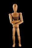 Hombre de madera con los brazos cruzados Foto de archivo libre de regalías
