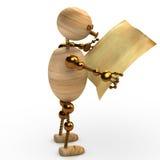 Hombre de madera que lee el periódico 3d rendido Fotos de archivo