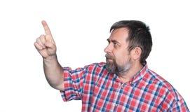 Hombre de mediana edad que señala con el finger Fotografía de archivo libre de regalías