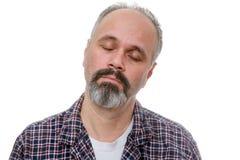 Hombre de mediana edad soñoliento temprano por la mañana fotografía de archivo libre de regalías
