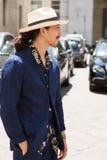 Hombre de moda en la semana de la moda del ` s de Milan Men Fotografía de archivo libre de regalías