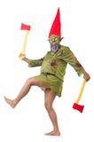 Hombre de monstruo con las hachas aisladas Imagen de archivo
