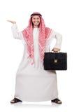 Hombre de negocios árabe con la cartera aislada Foto de archivo libre de regalías