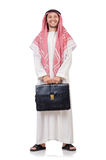 Hombre de negocios árabe con la cartera aislada Imagen de archivo