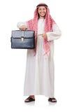 Hombre de negocios árabe con la cartera aislada Imagenes de archivo