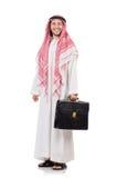 Hombre de negocios árabe con la cartera aislada Fotos de archivo libres de regalías