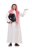 Hombre de negocios árabe con la cartera que lleva a cabo las manos aisladas Foto de archivo