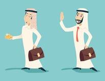 Hombre de negocios árabe del vintage retro con el saludo del oro Imagen de archivo